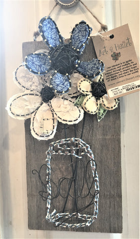 Rustic Wood Plaque with Handmade Wire and Fabric Flowers at Art 2 Heart in Hamel MN