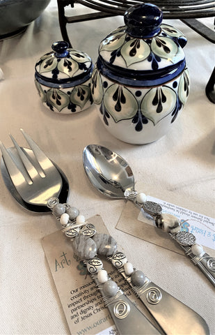 Beaded salad servers available from Art 2 Heart Gift Shop in Hamel MN