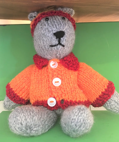 Hand-knit cuddly Bear with clothes at Art 2 Heart Gift Shop in Hamel MN