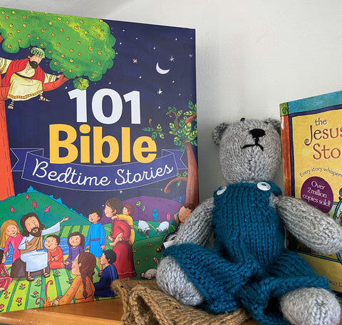 101 Bible stories for kids and a cuddly bear from Art 2 Heart Gift Shop in Hamel MN