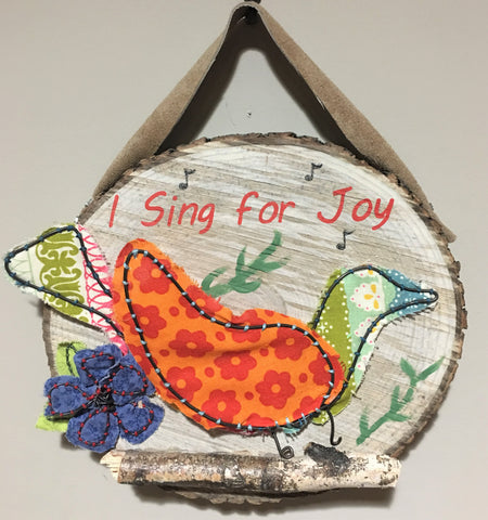 Wire/Fabric Bird on Wood Slice from Art 2 Heart in Hamel MN
