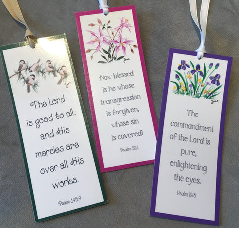 Laminated bookmarked with Bible verses from Art 2 Heart Gift Shop in Hamel MN