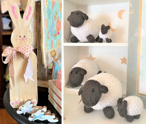 Handmade wooden bunnies and cuddly knit lambs from Art 2 Heart Gift Shop in Hamel MN
