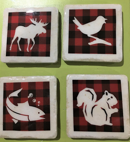 Set of 4 Up North stone coasters from Art 2 Heart Gift Shop in Hamel MN