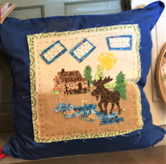 """Up North"" Cabin Toss Pillow Available at Art2Heart Gift Shop in Hamel MN"