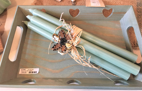 Candles in a wooden tray from Art 2 Heart Gift Shop in Hamel MN