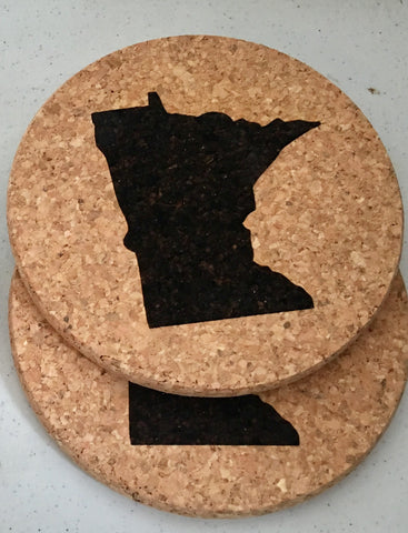 Cork Coasters with MN Silhouette from Art 2 Heart Gift Shop in Hamel MN