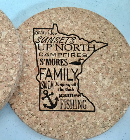 Cork Coasters with Minnesota Outline from Art 2 Heart Gift Shop in Hamel MN