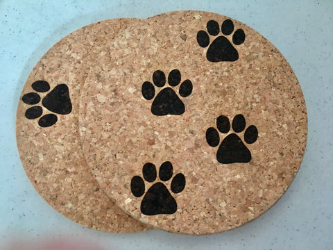 Cork Coasters with paw prints from Art 2 Heart Gift Shop in Hamel MN