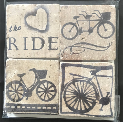 Set of 4 stone coasters with bicycle theme from Art 2 Heart Gift Shop in Hamel MN