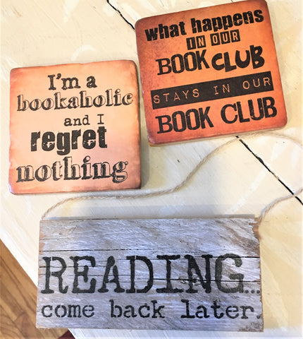 Coasters and Sign for Readers from Art 2 Heart Gift Shop in Hamel MN