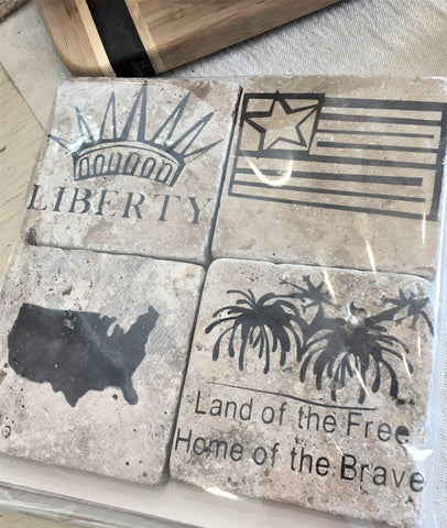 Patriotic Coasters of Tumbled Travertine at Art 2 Heart in Hamel MN