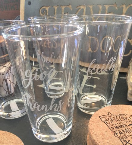 Etched Drinking Glasses from Art 2 Heart Gift Shop in Hamel MN