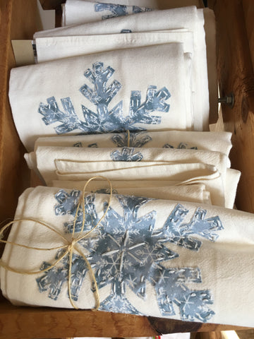Snowflake applique tea towels available at Art 2 Heart Gift Shop in Hamel MN