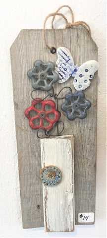 Metal flowers on barnwood wall art from Art 2 Heart Gift Shop in Hamel MN