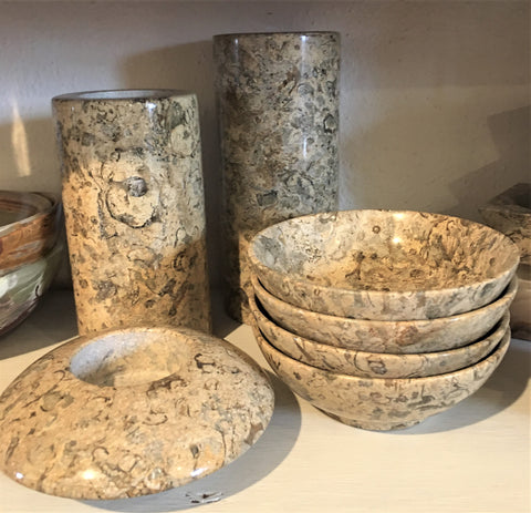 Marvelous Marble bowls and candle holders at Art 2 Heart Gift Shop in Hamel MN