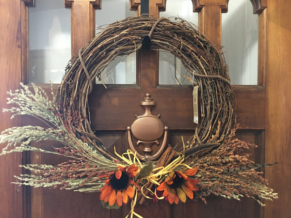 Grapevine and broom corn wreath from Art 2 Heart Gift Shop in Hamel MN