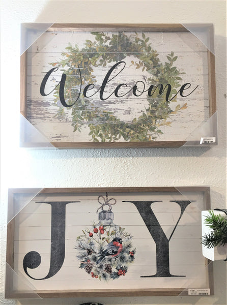 JOY and WELCOME wood wall art from Art 2 Heart Gift Shop in Hamel MN