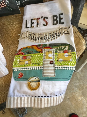 Happy Camper tea towel available at Art 2 Heart Gift Shop in Hamel MN