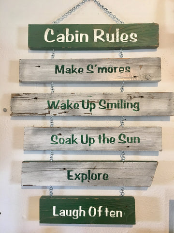 Cabin Rules Wood Sign from Art 2 Heart Gift Shop in Hamel MN