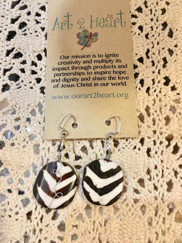 Black and white earrings at Art 2 Heart Gift Shop in Hamel MN