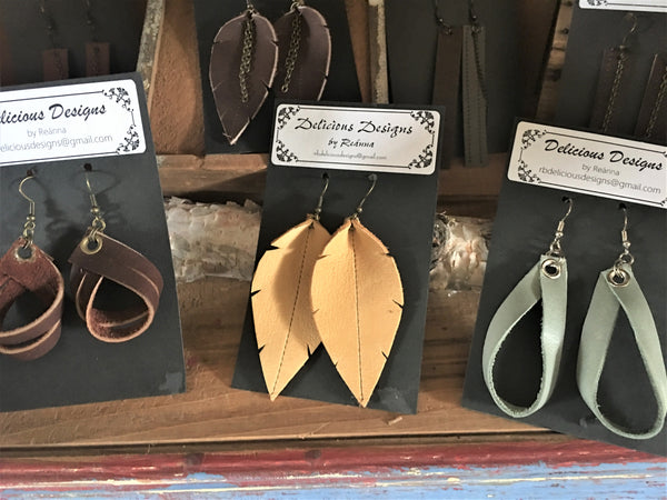 Long Leather Earrings at Art 2 Heart Gift Shop in Hamel MN