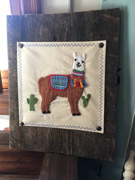 Embroidered Llama on Barnwood at Art 2 Heart Gift Shop in Hamel MN
