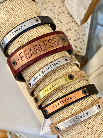 Metal & Leather bracelet cuffs available at Art 2 Heart Gift Shop in Hamel MN