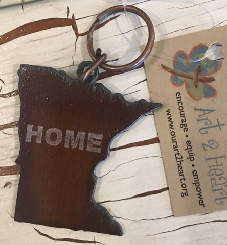 Metal Keychain, Minnesota Shape at Art 2 Heart in Hamel MN