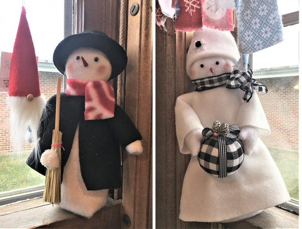 Mr and Mrs Snow Handmade Christmas Figures available at Art 2 Heart Gift Shop in Hamel MN