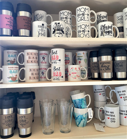 mugs and glassware available from Art 2 Heart Gift Shop in Hamel MN