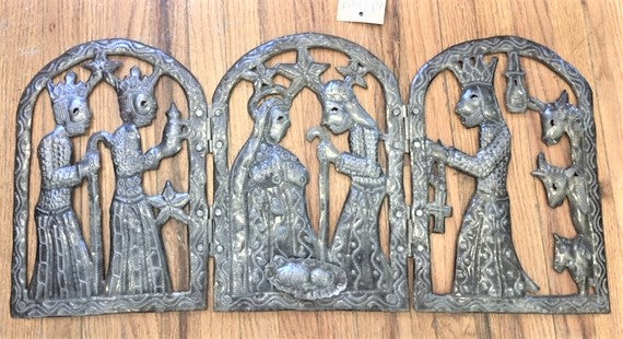 Hammered Metal Tryptich of the Birth of Jesus from Art 2 Heart Gift Shop in Hamel MN