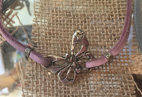 Silver Butterfly on Leather Necklace from Art 2 Heart Gift Shop in Hamel MN