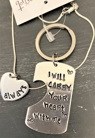 I Carry Your Heart With Me Necklace and Keyring set for two people from Art 2 Heart Gift Shop in Hamel MN