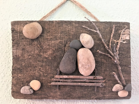 Moongazing - rustic wood wall plaque at Art 2 Heart in Hamel MN