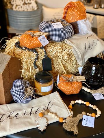 Decorator Pumpkins in fabric, wood, wire from Art 2 Heart Gift Shop in Hamel MN