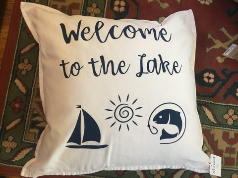 Welcome to the Lake Pillow from Art 2 Heart Gift Shop in Hamel MN