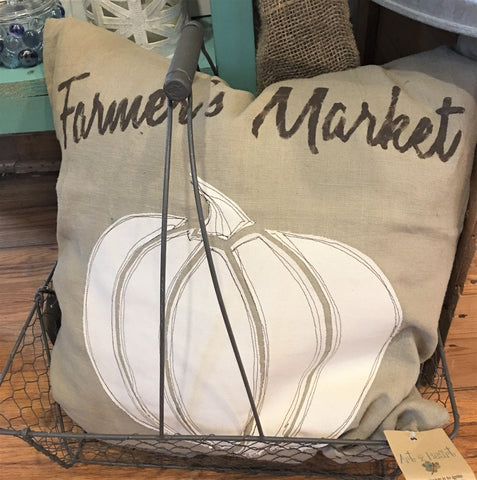 Farmers Market Pumpkin Pillow 20x20 at Art 2 Heart