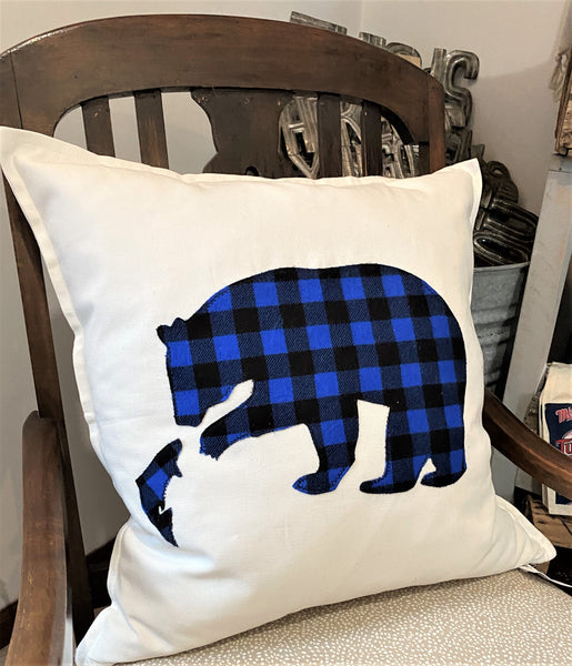 buffalo plaid bear toss pillow available at Art 2 Heart Gift Shop in Hamel MN
