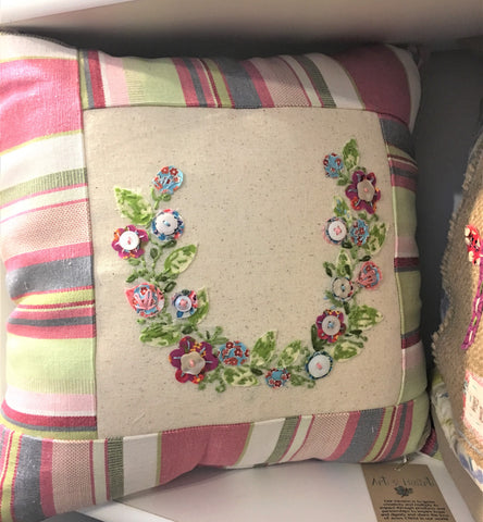 Hand-Embroidered Flower Wreath Pillow