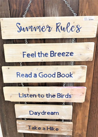 Summer Rules sign from Art 2 Heart Gift Shop in Hamel MN