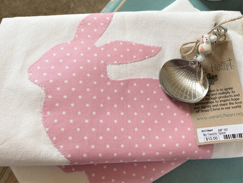 pink bunny tea towel and jelly bean spoon from Art 2 Heart Gift Shop in Hamel MN