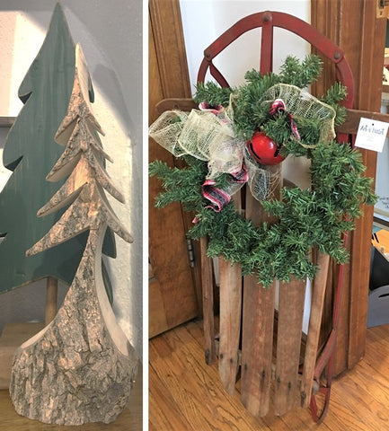 Vintage sled and carved tree from Art 2 Heart Gifts Shop in Hamel MN