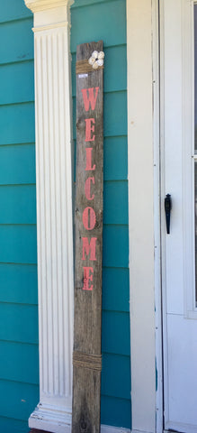 WELCOME on 8-ft-tall barnwood from Art 2 Heart Gift Shop in Hamel MN