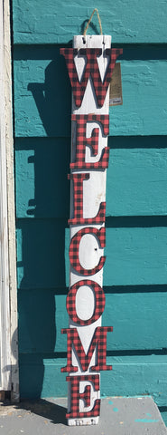 Buffalo Plaid WELCOME Porch Sign at Art 2 Heart Gift Shop in Hamel MN