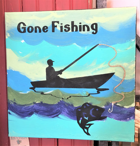 Fishing 12x12 wall art at Art 2 Heart in Hamel MN