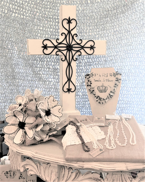 Wooden/Metal Cross for the Altar and Pearls for the Bride at Art 2 Heart in Hamel MN