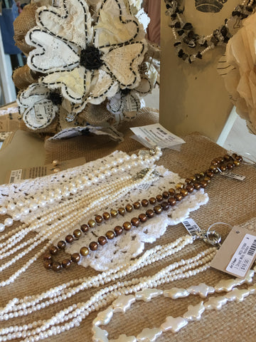 Pearls necklaces for the bride at Art 2 Heart in Hamel MN