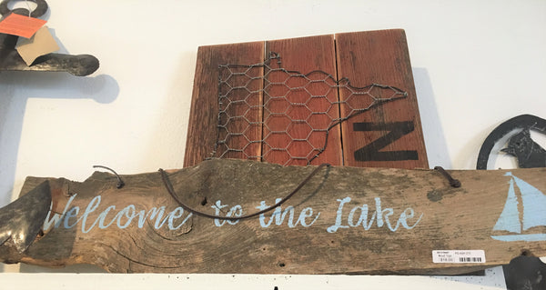 Upcycled Wood Sign 'Welcome to the Lake' at Art 2 Heart Gift Shop in Hamel MN