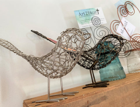Handcrafted wire birds from Art 2 Heart Gift Shop in Hamel MN